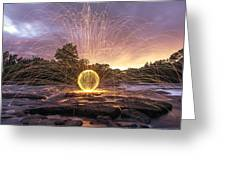 The American River Orb Greeting Card by Lee Harland