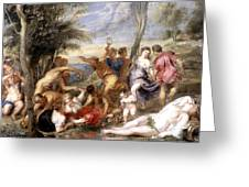 The Andrians A Free Copy After Titian Greeting Card by Peter Paul Rubens
