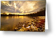 The Androscoggin River Between Lewiston And Auburn Greeting Card by Bob Orsillo