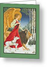 The Angel The Lion And The Lamb Greeting Card by Lynn Bywaters