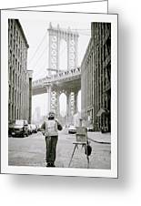 The Artist In New York Greeting Card by Shaun Higson