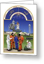 The Astronaut's Book Of Hours - The Space Shuttle Greeting Card by Tharsis  Artworks