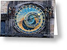 The Astronomical Clock In Prague Greeting Card by Michal Bednarek