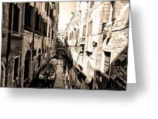 The Back Canals Of Venice Greeting Card by Pat Cannon