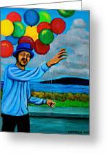 The Balloon Vendor Greeting Card by Cyril Maza