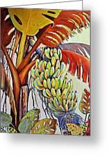The Banana Tree Greeting Card by JAXINE Cummins