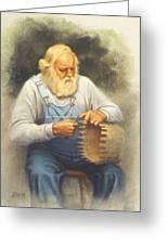 The Basketmaker In Pastel Greeting Card by Paul Krapf