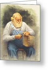The Basketmaker In Pastel Greeting Card by Paul Krapf