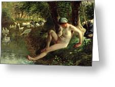 The Bather Greeting Card by Jean Francois Millet