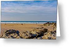 The Beach At Porthtowan Cornwall Greeting Card by Brian Roscorla