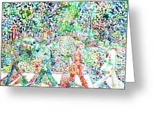 The Beatles Abbey Road Watercolor Painting Greeting Card by Fabrizio Cassetta