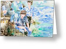 The Beatles At The Sea Watercolor Portrait Greeting Card by Fabrizio Cassetta