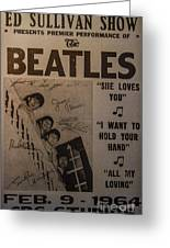 The Beatles Ed Sullivan Show Poster Greeting Card by Mitch Shindelbower