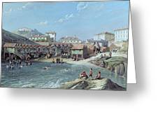 The Beginning Of Sea Swimming In The Old Port Of Biarritz Greeting Card by Jean Jacques Alban de Lesgallery