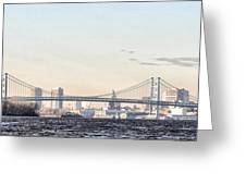 The Ben Franklin Bridge From Penn Treaty Park Greeting Card by Bill Cannon