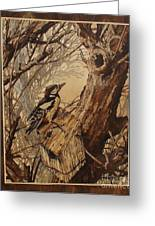 The Bird And Tree Marquetry Wood Work Greeting Card by Persian Art