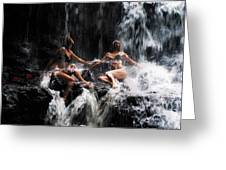 The Birth Of The Double Star. Anna At Eureka Waterfalls. Mauritius. Tnm Greeting Card by Jenny Rainbow