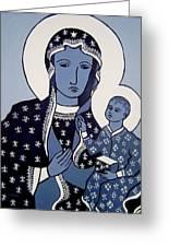 The Black Madonna In Blue Greeting Card by John  Nolan
