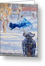 The Blue Bird Greeting Card by Victoria Kharchenko