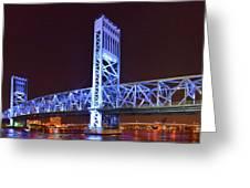 The Blue Bridge - Main Street Bridge Jacksonville Greeting Card by Christine Till