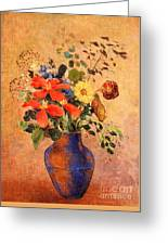 The Blue Vase Greeting Card by Odilon Redon