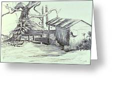 The Boathouse Greeting Card by Herschel Pollard