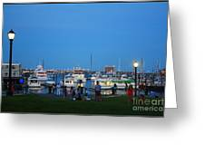 The Boston Wharf In The Early Evening Greeting Card by  Photographic Art and Design by Dora Sofia Caputo