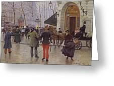 The Boulevard Des Capucines And The Vaudeville Theatre Greeting Card by Jean Beraud