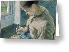 The Breakfast Greeting Card by Camille Pissarro