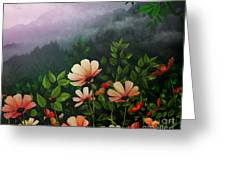 The Brighter Side Of The Dark Mountains Greeting Card by Bedros Awak