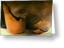 The Broken Terracotta Pot Greeting Card by Michelle Calkins