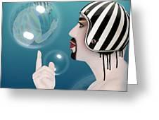 the Bubble man Greeting Card by Mark Ashkenazi