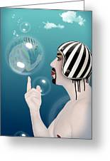 the Bubble man Greeting Card by Mark Ashkenazi