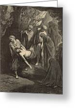 The Burial Of Jesus Greeting Card by Antique Engravings