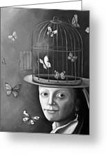 The Butterfly Keeper Bw Greeting Card by Leah Saulnier The Painting Maniac