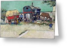 The Caravans   Gypsy Encampment Near Arles Greeting Card by Vincent Van Gogh