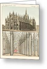 The Cathedral Of Milan Greeting Card by Splendid Art Prints