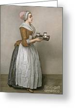 The Chocolate Girl Greeting Card by Jean-Etienne Liotard