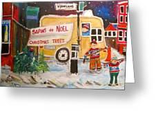 The Christmas Tree Vendor Greeting Card by Michael Litvack