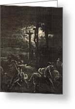 The Close Of The Crucifixion Greeting Card by Antique Engravings