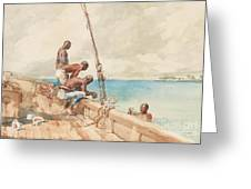 The Conch Divers Greeting Card by Winslow Homer