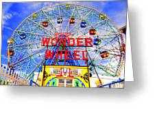 The Coney Island Wonder Wheel Greeting Card by Ed Weidman