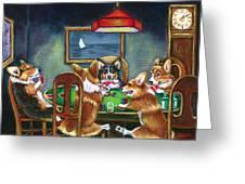 The Corgi Poker Game Greeting Card by Lyn Cook
