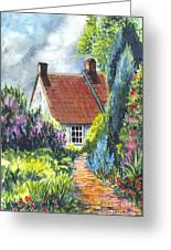 The Cottage Garden Path Greeting Card by Carol Wisniewski