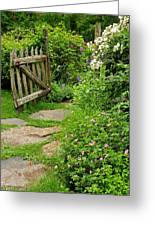 The Cottage Garden Walkway Greeting Card by Thomas Schoeller