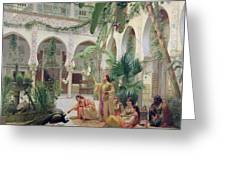 The Court Of The Harem Greeting Card by Albert Girard