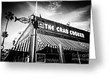 The Crab Cooker Newport Beach Black And White Photo Greeting Card by Paul Velgos