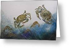The Crabby Couple Greeting Card by Nancy Gorr
