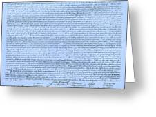 The Declaration Of Independence In Cyan Greeting Card by Rob Hans
