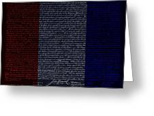 The Declaration Of Independence In Negative R W B Greeting Card by Rob Hans
